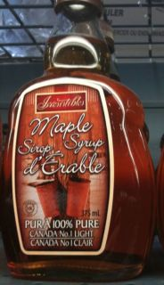 Canadian No 1 Light Maple Syrup 100 Pure 375ml Bottle
