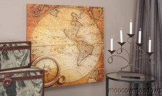 New LARGE WORLD MAP PRINT Globe Western Hemisphere COMPASS Picture