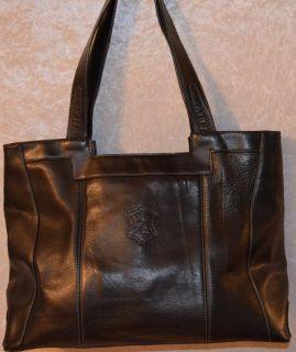 Marc Chantal Black Leather Large Handbag Purse SATCHEL BAG TOTE