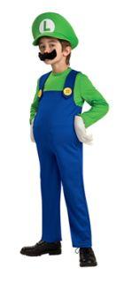 Deluxe Luigi Plumber Super Mario Bros Kids Costume