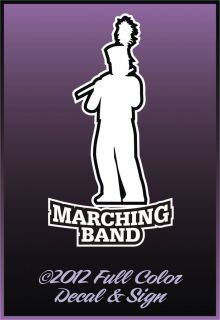 Marching Band Flute 3 3 x 6 Black White Easy to Apply Decal Ships