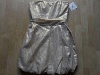 495 NWT Mark + James by Badgley Mischka ivory/gold strapless dress sz