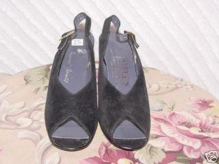 70s Margaret Jerrold Black Suede Peep Toe Slingbacks 6N