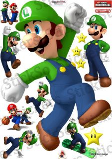Super Mario Bros Wii Luigi Jumping Repositionable Wall Sticker Medium