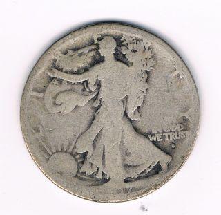 Walking Liberty Half Dollar w Obverse Mint Mark G Nice Coin Look