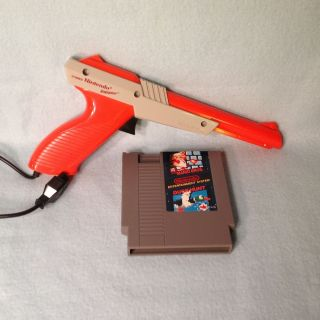 Original Super Mario Bros Duck Hunt Game Cartridge Orange Zapper Gun