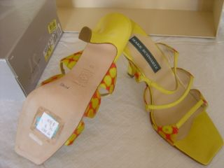 NEW MARK SCHWARTZ ELECTRIC RED YELLOW FABRIC SANDAL LEATHER STRAPS
