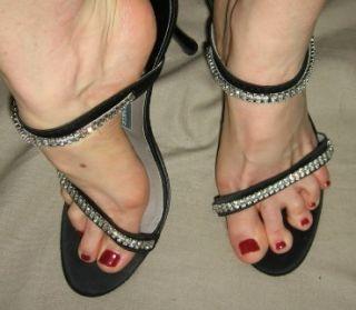 Mark Schwartz Black Strappy Sandals w Rhinestones Sz 9