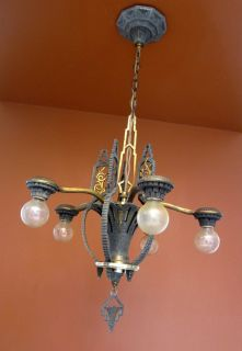 Lighting Antique 1930s Art Deco Markel Chandelier High Quality