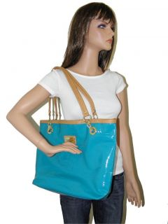 New w D Marc Fisher Patent Turquoise Teal Blue Pop Star Large Tote Bag