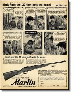 1958 Marlin 22 Lever Action Rifle Hunting Print Ad