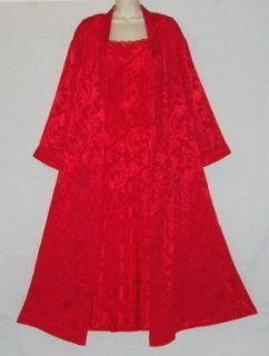 Victorias Secret 2 PC Ruby Red Brocade Stretch Mesh Lux Peignoir Set M