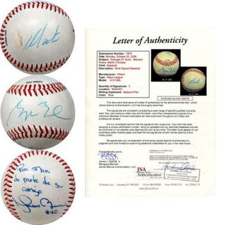 George w Bush Martin Torrijos Jr Mariano Rivera Signed Baseball JSA