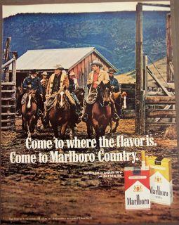 Vintage Ad Several Cowboys Riding Horses Marlboro Cigarettes
