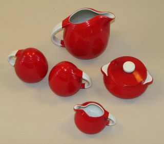Vintage Halls Superior Quality Red Pitcher Salt Pepper