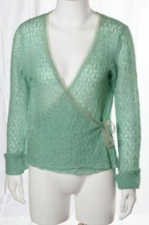 Margaret OLeary Bright Green Mohair Fluffy Knit Cozy Cardigan Sweater