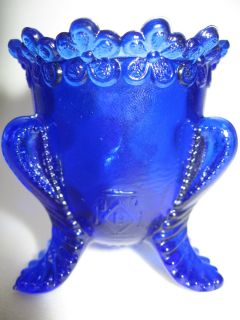 Cobalt Blue glass tabletop toothpick holder / 3 toe flowers boyd art