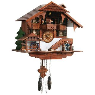 Large Cuckoo Clock AX Man Cutting Wood Moving Water Wheel Cuckoo Bird
