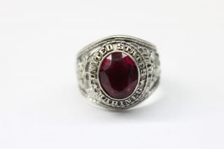 Marine Corps Sterling Silver Ring with Red Stone Made by Jostens