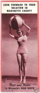 Marinette County Wisconsin Broch 1940 Bathing Beauties