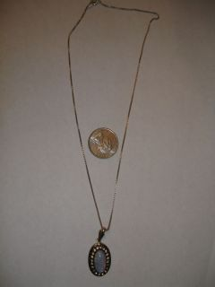 Vintage Sterling Silver Martelli Faux Opal Rhinestone Pendant Necklace
