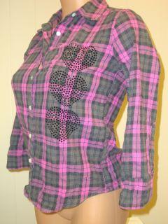 Victorias Secret Pink Bling Rhinestone Stripe Shirt XS