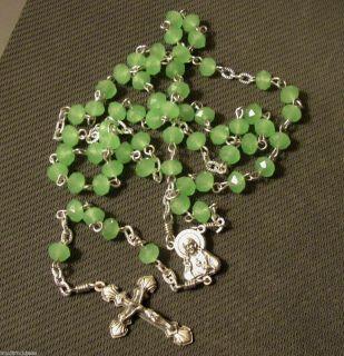 Light Green Jade rosary catholic handmade Jesus prayer beads holy Mary