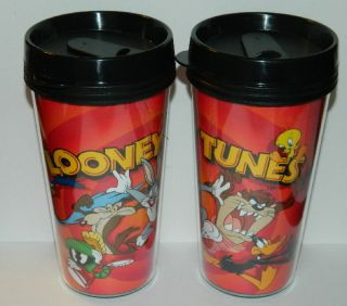 CARTOON DAFFY BUGS MARVIN TWEETY TAZ GANG TRAVEL MUG CUP 20 OZ IC E