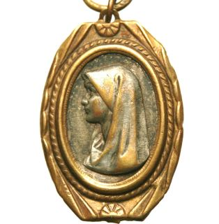 Unusual Beautiful Antique Medal Pendant to Holy Virgin Mary