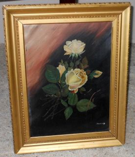 Antique Still Life Oil Painting Yellow Roses Signed Mary Hart
