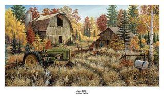 Mark Daehlin Deer Valley Farm John Deere Print 33 x 17 Large Size