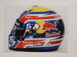 Mark Webber Red Bull Renault Helmet F1 Postcard