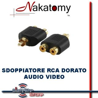 Adattatore Sdoppiatore Audio Video RCA Maschio 2 RCA Femmina Doppia
