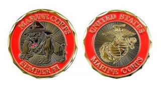Marine Corps EGA Bulldog Mascot Challenge Coin ★