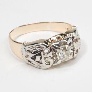 Vintage Estate Masonic 32nd Diamond 14k Gold Mens Ring Fine Fraternity