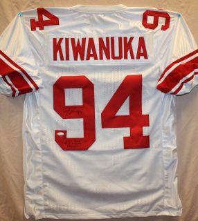 Mathias Kiwanuka Autographed NY Giants White Jersey Authenticated by