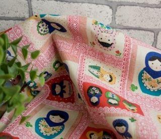 Quarter of Kawaii Japanese Cotton Linen Matryoshka Fabric Red Combo