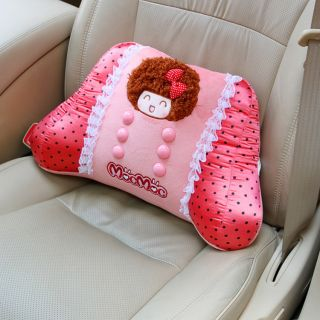 Mocmoc Girl Lace Car Office Massage Lumbar Pillow Waist Pad Seat Back