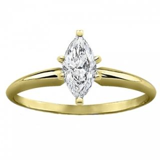 14k Solid Yellow Gold 1 Carat Genuine Marquise Diamond Solitaire