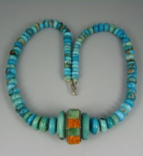 Pueblo Turquoise Bead Necklace w Spiny Oyster Spinner Bead