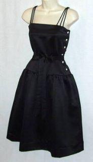Vtg Satin Rhinestone Dazzle Poof Quality Sexy Dress S