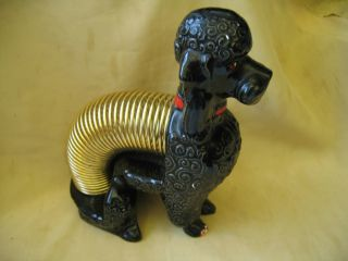 1950s Marston California Pottery Black Poodle Dog Letter Holder Desk