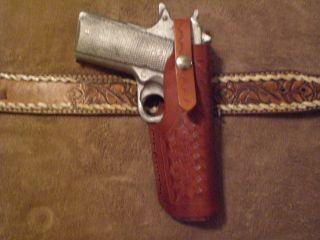 1911 LEATHER SLIDE BELT GUN HOLSTER CONCEALED CARRY HOLSTER CUSTOM