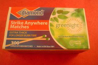 Diamond Strike Anywhere Matches 300 Per Box Large Kitchen Matches