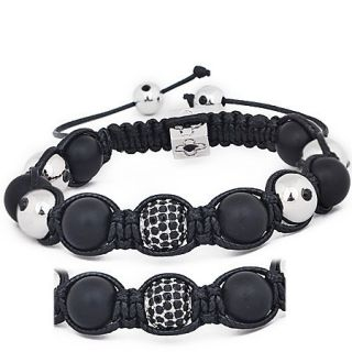 Pave Bead Matte Onyx Black Shamballa Macrame Bracelets for Men