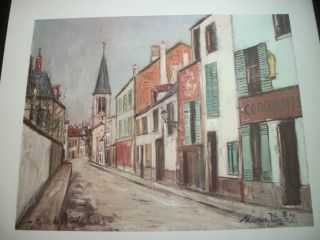 Donald Art Co.#1657B Lithograph MAURICE UTRILLO Street View Alley 17