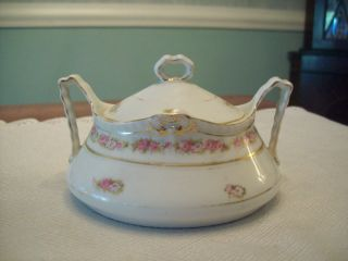 Germany Hohenzollern China Sugar Bowl with Lid Floral Pattern Vintage