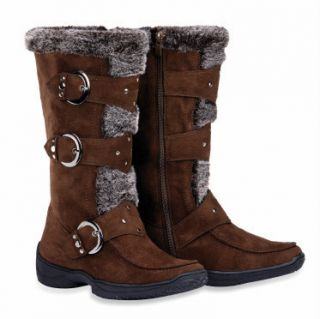 Max Collection Suede Boots with Faux Fur for Women Janet Brown