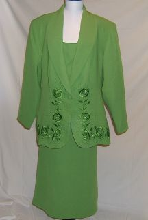 Maxie Klein Green Embellished Skirt Suit Size 20
