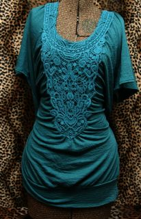 Maurices Dark Teal Green Crochet Lace Trim Raglan T Shirt 2X